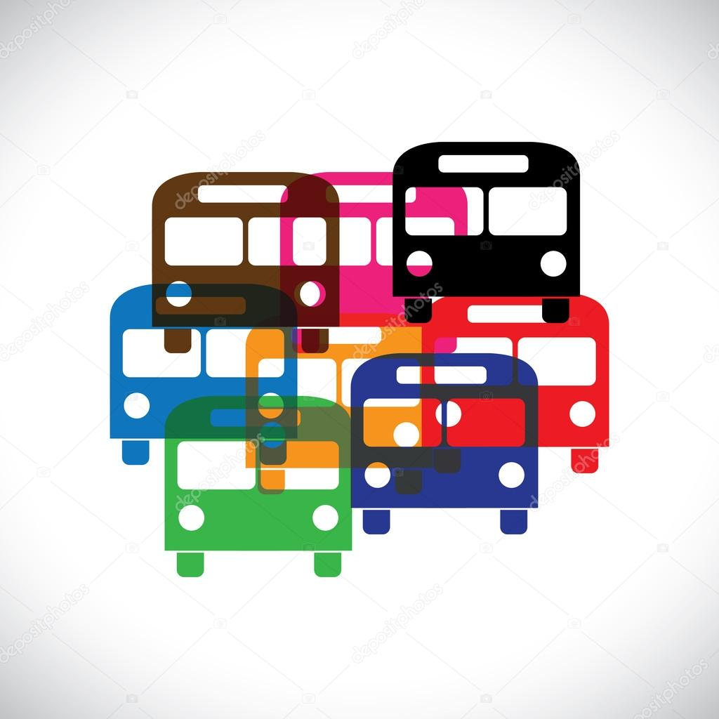 Concept vector graphic- abstract colorful transport bus icons(sy