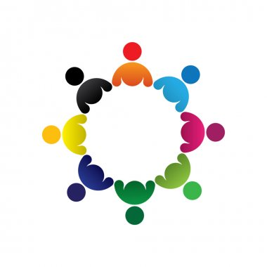 Concept vector graphic- abstract colorful children group icons(s