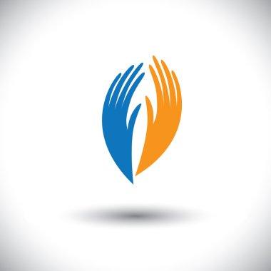 Concept vector graphic- woman's palm symbols representing friend