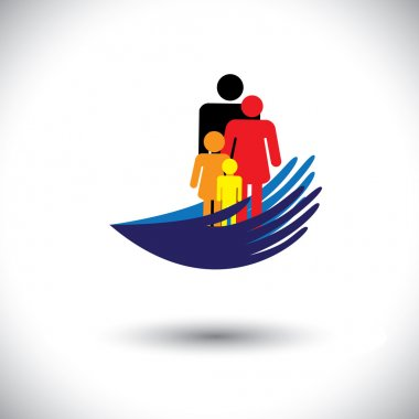 Concept vector graphic- hands protecting family of parents & chi