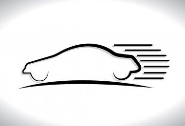 Concept vector graphic- speeding car automobile icon(symbol) wit