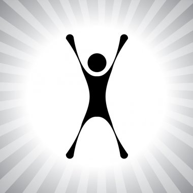 person jumping with joy after winning a challenge- simple vector