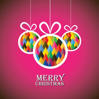 Abstract christmas bauble balls on pink background- vector graphic. This illustration shows three hanging balls decorated on xmas(feliz navidad) eve clip art vector