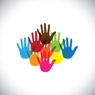colorful hand(palm) icons(signs) of children together- vector gr
