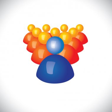 colorful 3d icons or signs of community members & leader - vecto