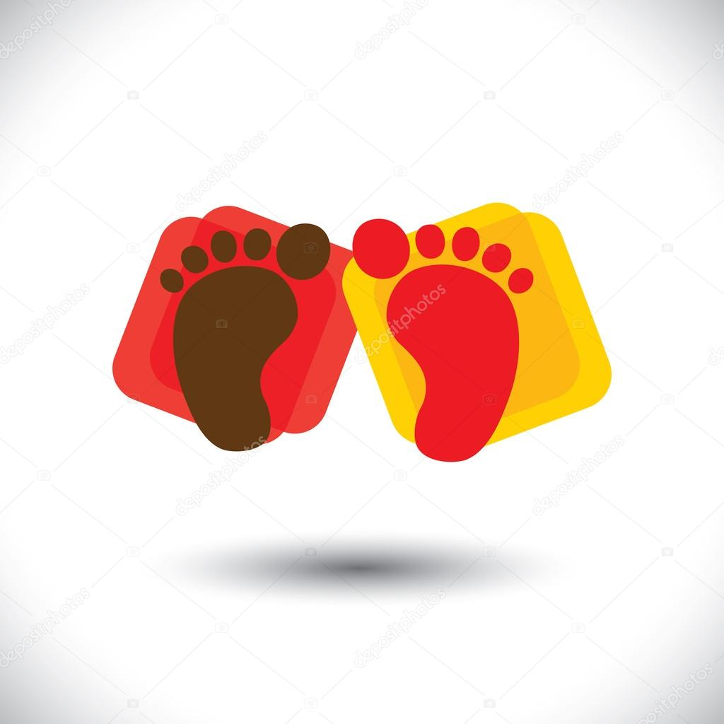 Childs colorful pair of foot print sign or symbol for school childs colorful pair of foot print sign or symbol for school vector graphic this illustration can represent play school nursery or kindergarten of kids biocorpaavc Gallery