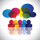 koncepció vektor iskolás gyerek beszél vagy hivatali dolgozók találkozó