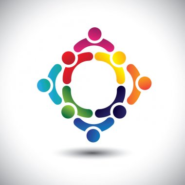 colorful people & children icons in multiple circles- concept ve