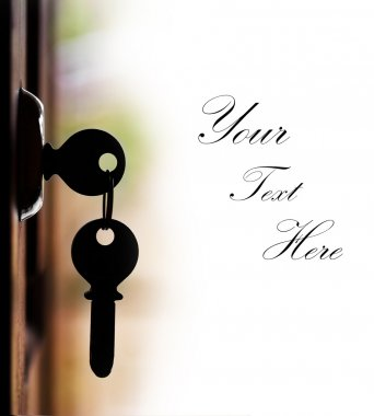 Silhouette of door keys on the open door with white background