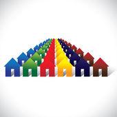 Fotografia Comunità del vettore concetto vivente - colorate case o case a ro