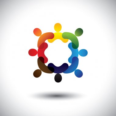 Abstract colorful community people icons in circle- vector graph
