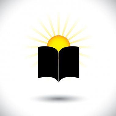 Open paper book or booklet icon with rising sun - concept vector