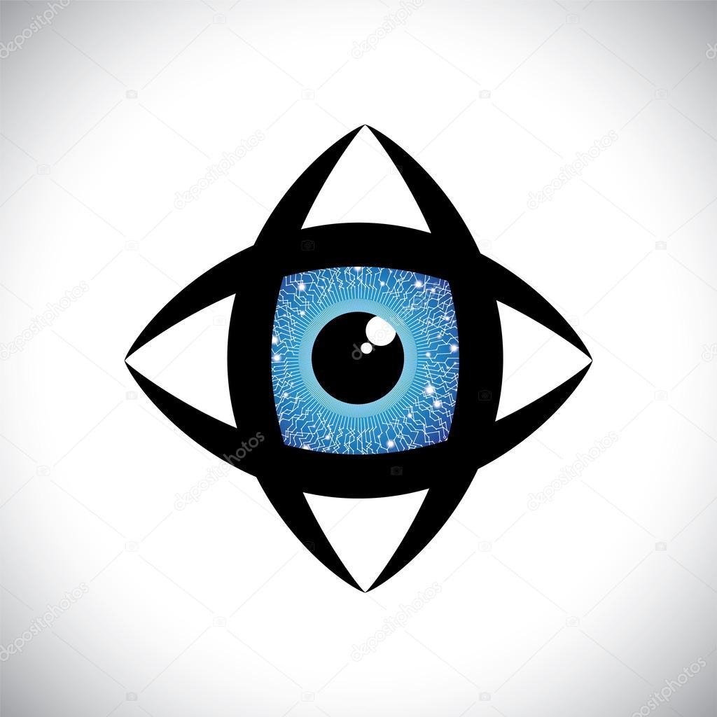 abstrakt bunt menschliches Auge-Symbol mit elektronischen Schaltung ...