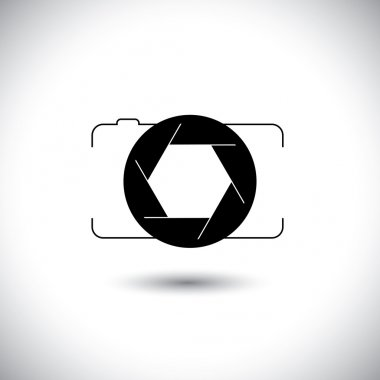 Abstract digital camera & shutter icon outline front view