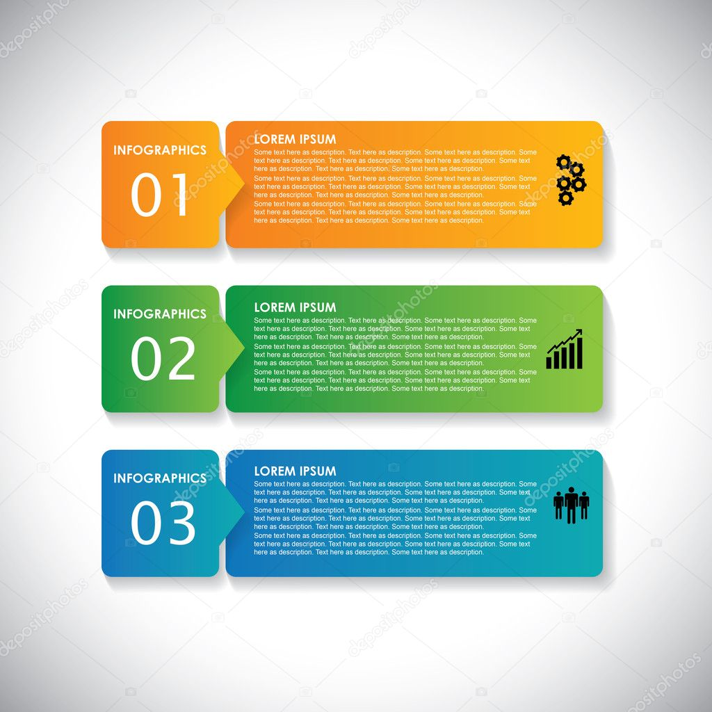 colorful labels with sequence of steps - vector infographic ban