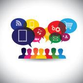ikony spotřebitelů nebo uživatelů online v sociálních médiích, nákupy - v