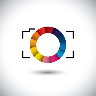 Abstract digital camera with colorful shutter vector icon front