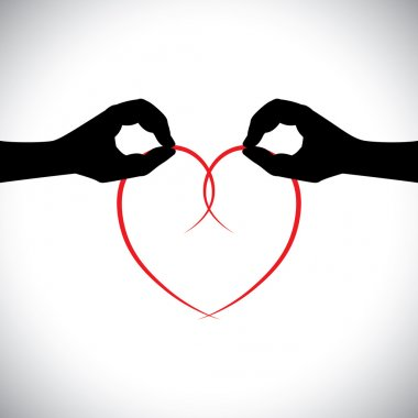 love vector concept - two lovers hands holding heart.