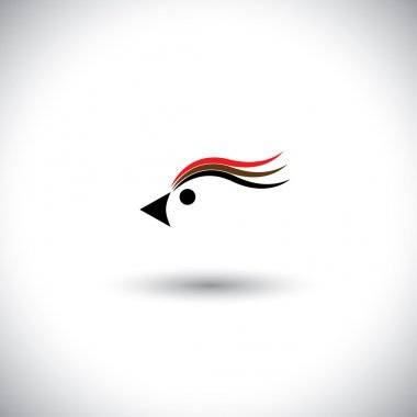 bird head vector with lovely colorful feathers, eyes & beak.