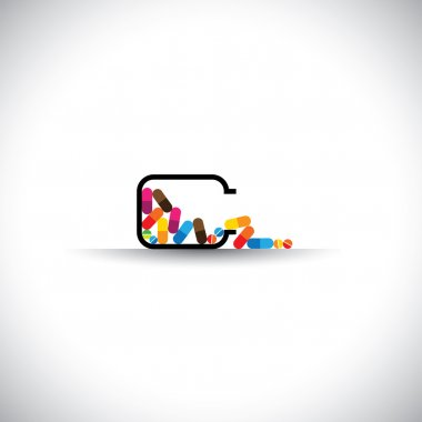 medical concept vector icon - colorful tablets in a bottle.
