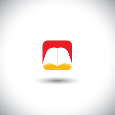 Concept vector icon - book symbol in red & yellow colors