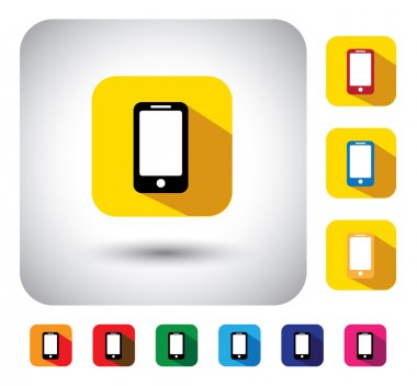 smartphone sign on button - flat design vector icon