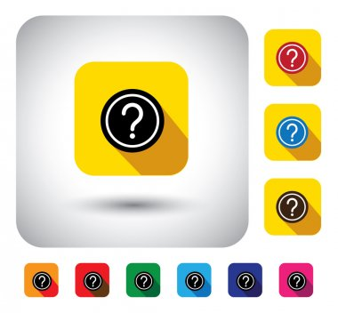 Question mark sign on button - flat design vector icon