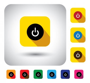 Computer start sign on button - flat design vector icon