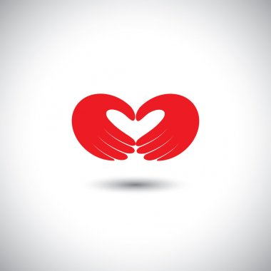 Hands forming heart symbol - couple in love concept vector