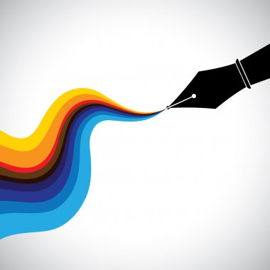 fountain pen nib and flowing colorful ink  - creativity concept