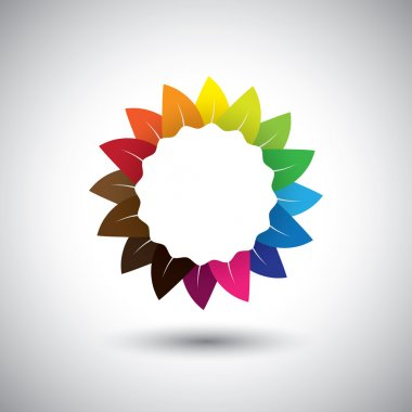 beautiful colorful flower color wheel vector icon