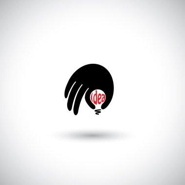 Human hand with creative idea light bulb - concept vector icon