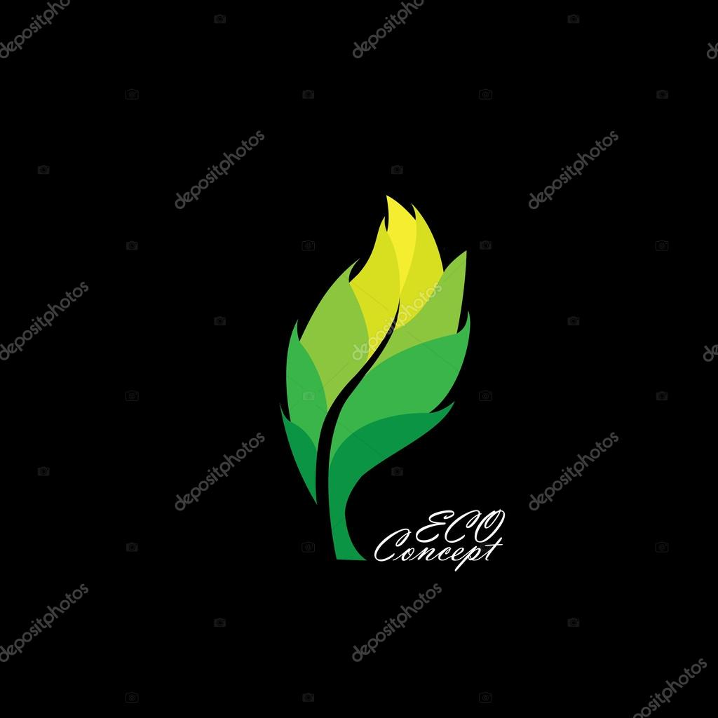green leaf icon with dark & light shades - eco concept vector