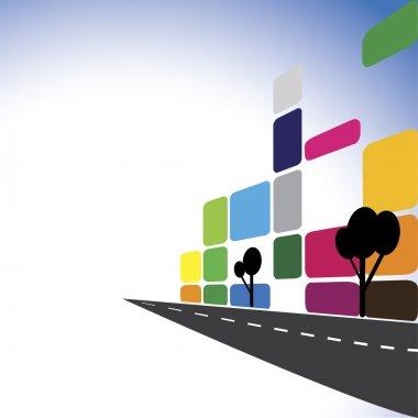 Concept vector - Colorful office buildings, apartments, skyscrap