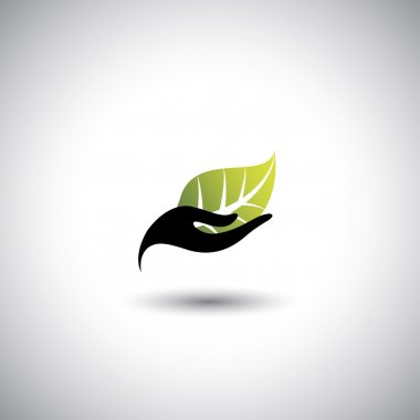 hand & leaf - nature conservation or spa concept vector