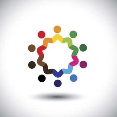 friendship concept vector - happy, joyful people together in cir