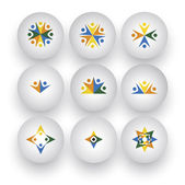 Közösség, egység, boldog emberek, gyerekek játszanak vektoros ikonok