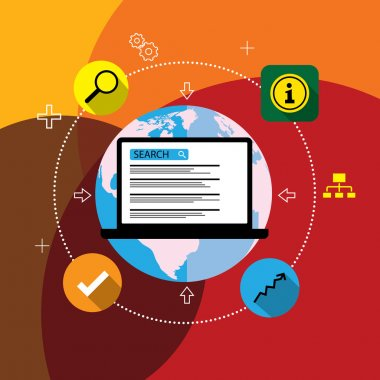 Flat design vector seo or search engine optimization
