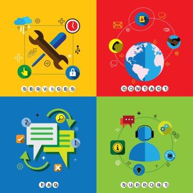 flat design web icons vector set for contact, service, faq & sup