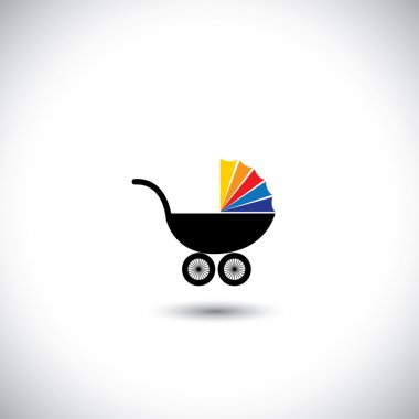 pram vector icon with colorful top on white background