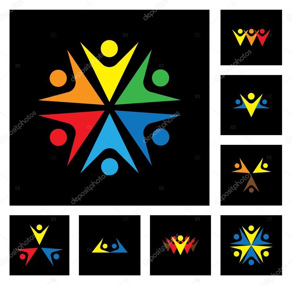 Happy employees & executives unity & diversity vector icon set
