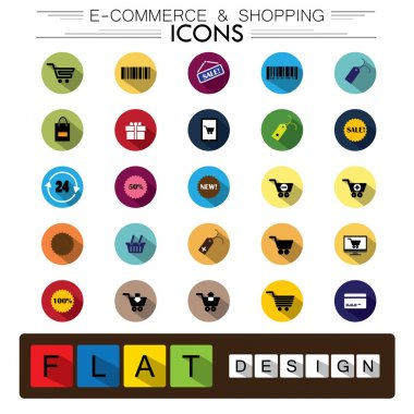 internet e-commerce shopping & business flat design vector icons