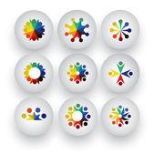 színes emberek, gyerekek, alkalmazottak ikonok collection halmaz - vect