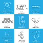 Flatline-Symbole der Verwaltung von Finanzen, Vertrieb, Service - conce