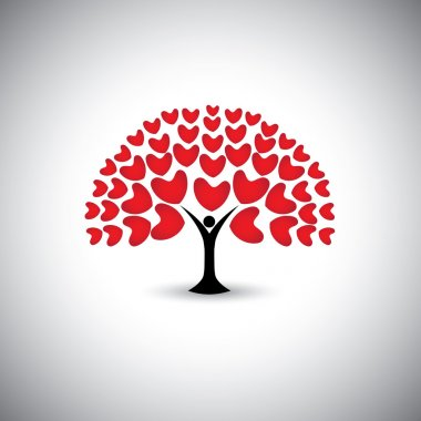 Heart or love icons and people as tree or plant - concept vector