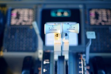 Commercial aircraft panel at night