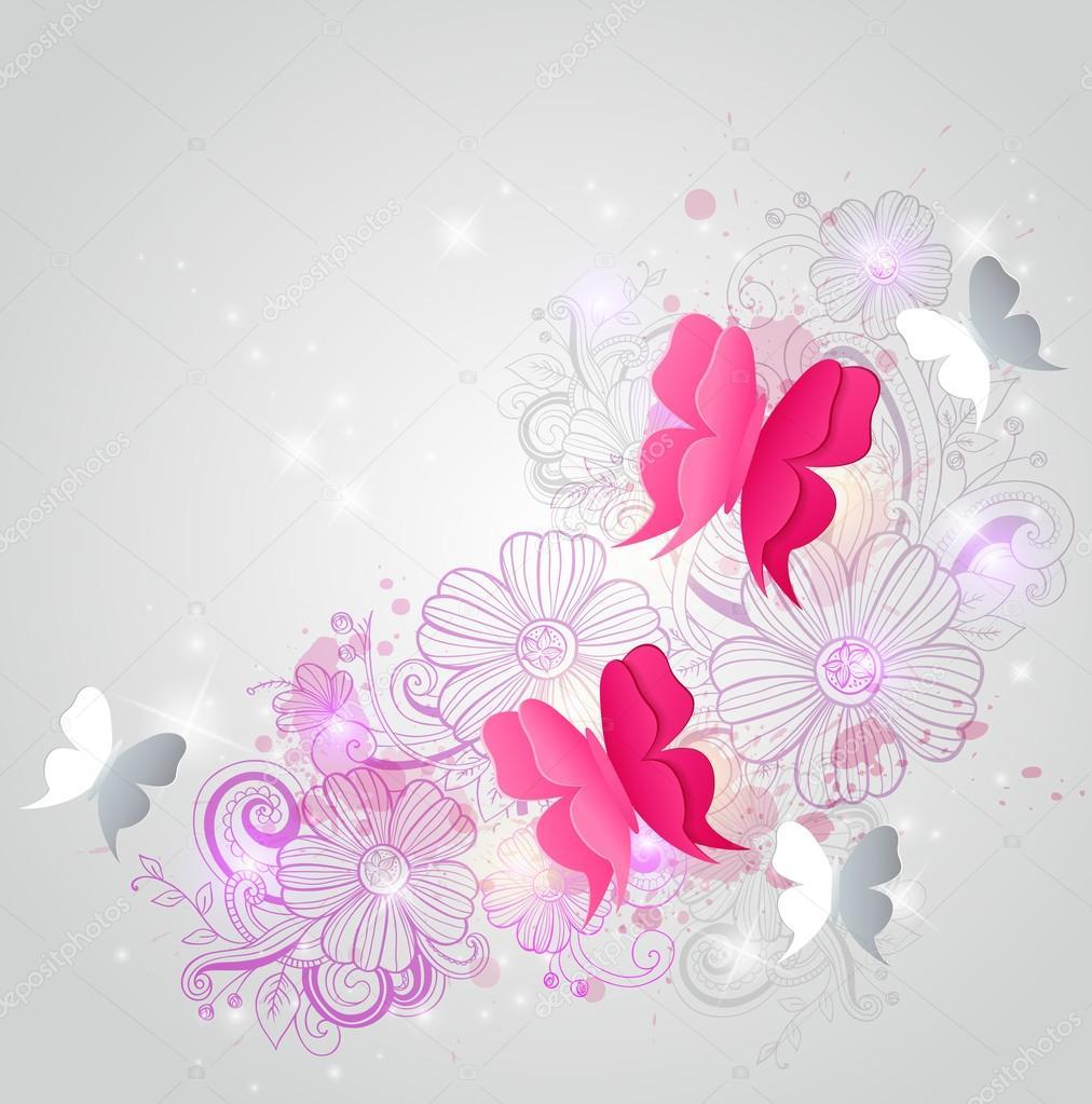 Sfondo con farfalle e fiori vettoriali stock artness for Sfondi con farfalle