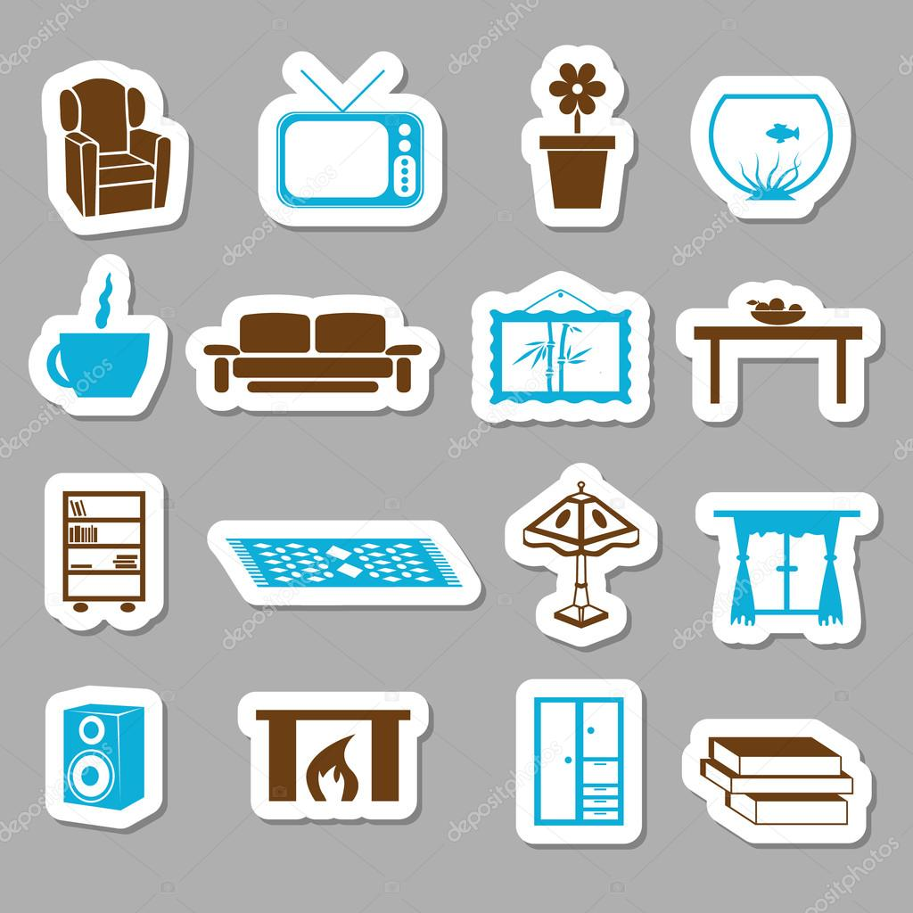 woonkamer stickers — Stockvector © glorcza #13838447