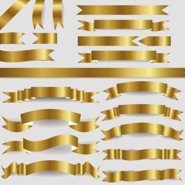 Set of gold ribbons stock vector