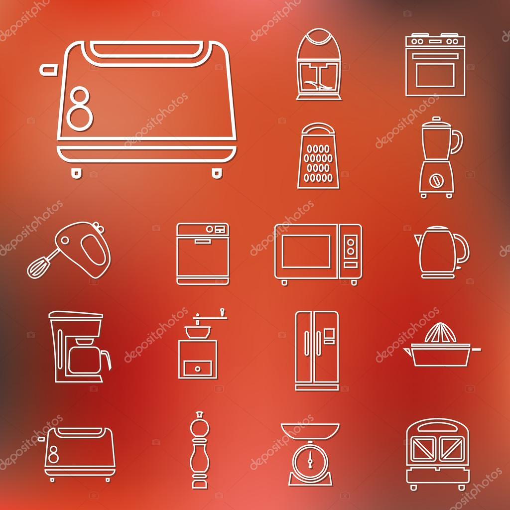 Küchengeräte und Werkzeuge umreißen Symbole — Stockvektor © glorcza ...
